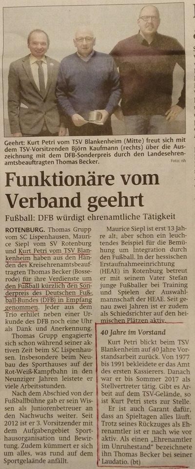 Zeitungsbericht Ehrung Kurt Petri